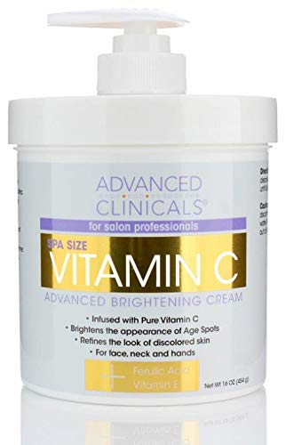 Advanced Clinicals Vitamin C Cream. Advanced Brightening Cream. Anti-aging cream for age spots, dark spots on face, hands, body. Large 16oz.