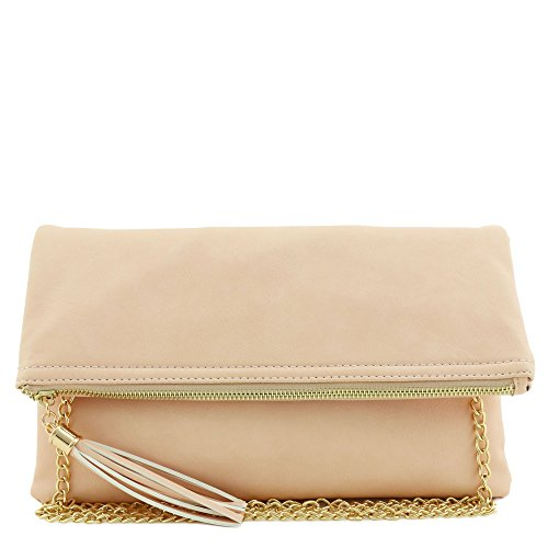 Tassel Accent Flapover Clutch Purse with Chain Strap Light Peach by FashionPuzzle