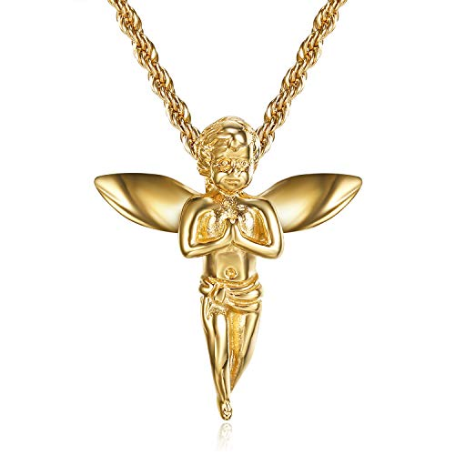 Lee Island Fashion 24K Gold Plated CZ Angel with Wings Pendant Stainless Steel Necklace, 24 Inch Chain Jewelry (Prayer Angel)