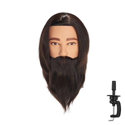 Price comparison product image Hairingrid Male Mannequin Head 100% Human Hair Hairdresser Cosmetology Mannequin Manikin Training Head Hair and Free Clamp Holder