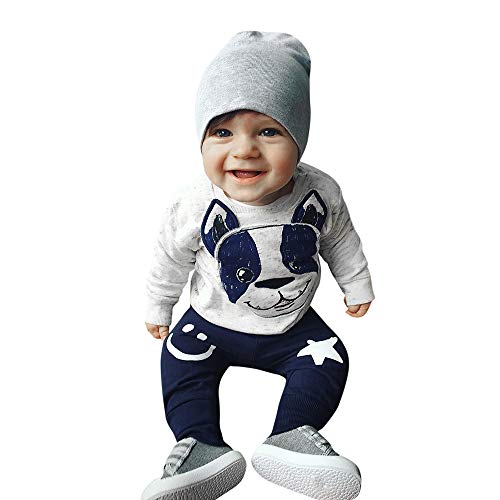 Toddler Baby Boys Girls Clothes Long Sleeves Cartoon Dog Print Tops and Ears Pants Outfit Set (12-18 Months, (Dog Print Gifts Set)