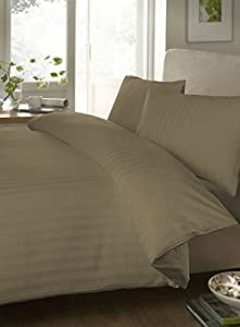 """Egyptian cotton Fitted Sheet With 23"""" Deep Pocket 550 Thread Count Stripe ( Full XL , taupe) By Bedding Spa"""