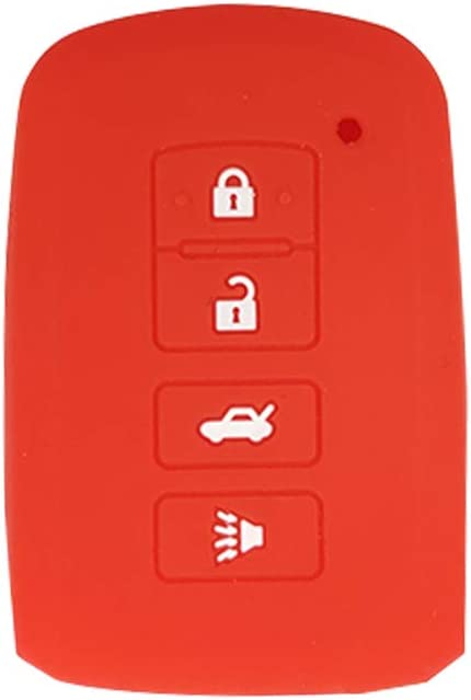BAR Autotech Remote Key Silicone Rubber Keyless Entry Shell Case Fob and Key Skin Cover 4 Buttons Fit For 2012 2013 2014 2015 2016 Toyota Avalon Camry Corolla RAV4 Highlander Black+Red