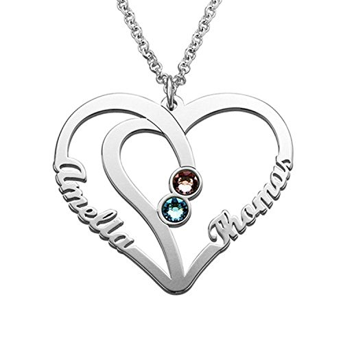 (Personalized Name Heart Necklace Pendant Sterling Silver Chain Customized Jewelry Gift for Men/Women/Lover)