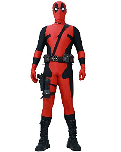 Deadpool Costumes Spandex (Miccostumes Men's Fullset Deadpool cosplay lycra jumpsuit (L))