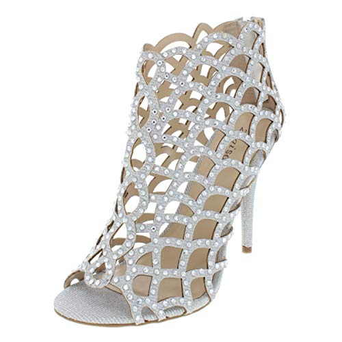 (ZIGI SOHO Womens Duran Metallic Caged Heels Silver 5 Medium (B,M))