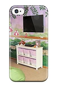Alfredo Alcantara's Shop Best 9697134K47191303 Defender Case For Iphone 4/4s, Fairy Garden Girls Playroom With Fairy Mural And Pink And Green Beanbag Chairs Pattern
