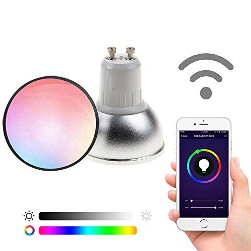 (FRANKEVER Light Bulbs, GU10 Smart LED Bulb, Compatible with Alexa, Google Assistant IFTTT, WiFi, No Hub Required (GU10, 5W, 2 Pack))