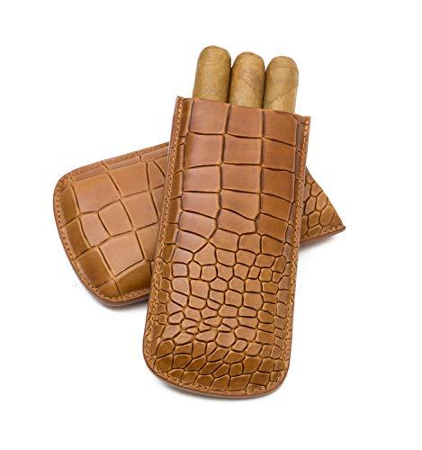 Tampa Fuego Cigar Case Deep Croco Grain Genuine Leather Cognac