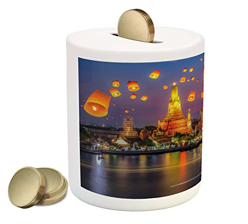 Lantern Piggy Bank by Ambesonne, Wat Arun Temple Thailand Bangkok Coastline People Wishing Positive Asian Culture, Printed Ceramic Coin Bank Money Box for Cash Saving, Multicolor (Patio Bangkok Thailand)