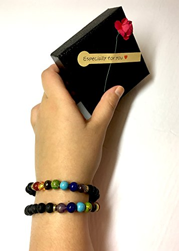 Set of 2 Handmade Couples Yoga Bracelets With Healing Reiki Gem Stone 7 Chakra Natural Matte Agate and Lava Stone For Men, Women, And Teenagers Perfectly Unique Gift For Valentines Day by Lavish Life (Image #4)