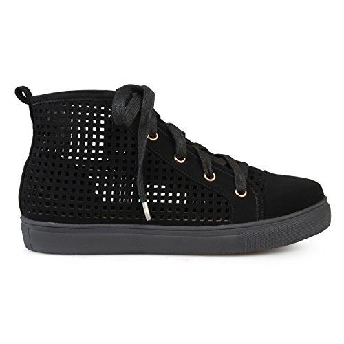 Brinley Co Dames Kunstleer Hoge Top Veter Laser Gesneden Sneakers Zwart