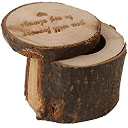Tinksky Wooden Ring Box Rustic Wedding Ring Holder Bearer