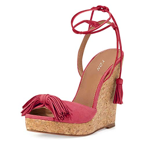 YDN Women Cork High Heel Platform Wedge Sandals Lace up Pumps Dress Fringes Shoes Fuchisa ()