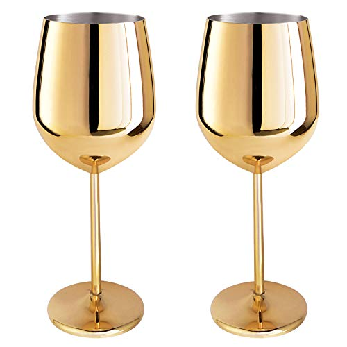 Magicpro 18/10 Stainless Steel Wine Glasses, Set of 2,17 oz gold -