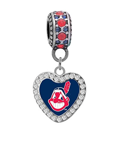 (Final Touch Gifts Cleveland Indians Crystal Heart Charm Fits European Style Large Hole Bead Bracelets)