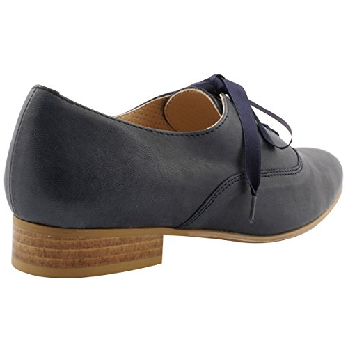 para Exclusif de Azul Mujer Cordones Zapatos Paris rvwq8xnAvI