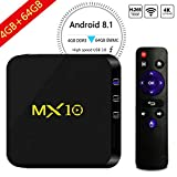 Android 8.1 TV Box, 4GB+64GB Yongf MX10 Smart 4K TV Box Android 8.1 RK3328 Octa Cora CPU WiFi Set Top Boxes 3D 4K Ultra HD TV Remote Control