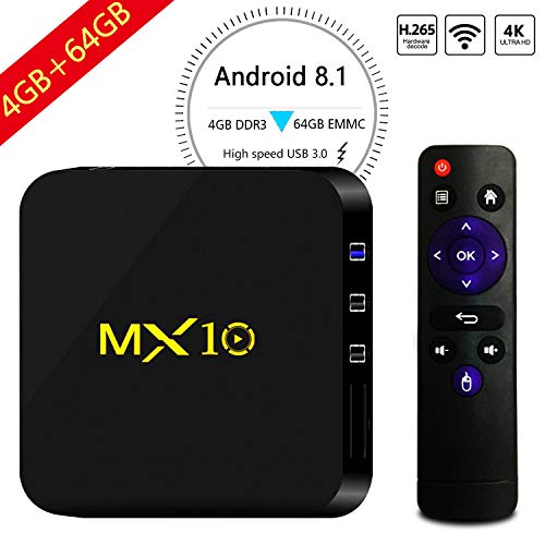 Android 8.1 TV Box, 4GB+64GB Yongf MX10 Smart 4K TV Box Android 8.1 RK3328 Octa Cora CPU WiFi Set Top Boxes 3D 4K Ultra HD TV Remote Control by Yongf