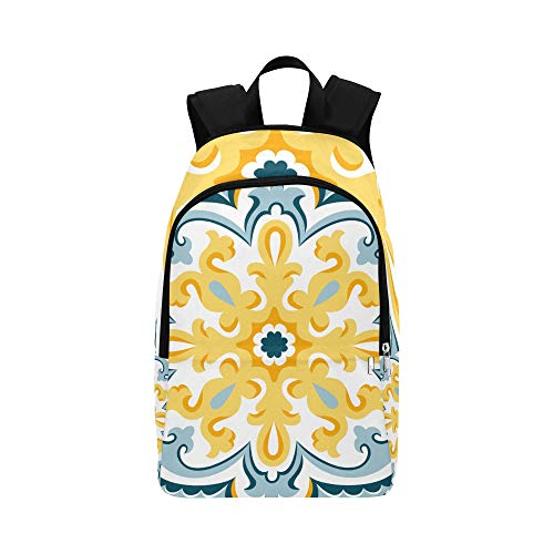 - VvxXvx Flowers and Moroccan Tiles Casual Daypack Travel Bag College School Backpack for Mens and Women