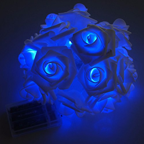Avanti 20 Led Battery Operated String Premium Romantic Flower Rose Fairy Light Lamp Outdoor for Valentines Day, Wedding, Room, Garden, Christmass, Patio, Festival Party Decor (Blue)