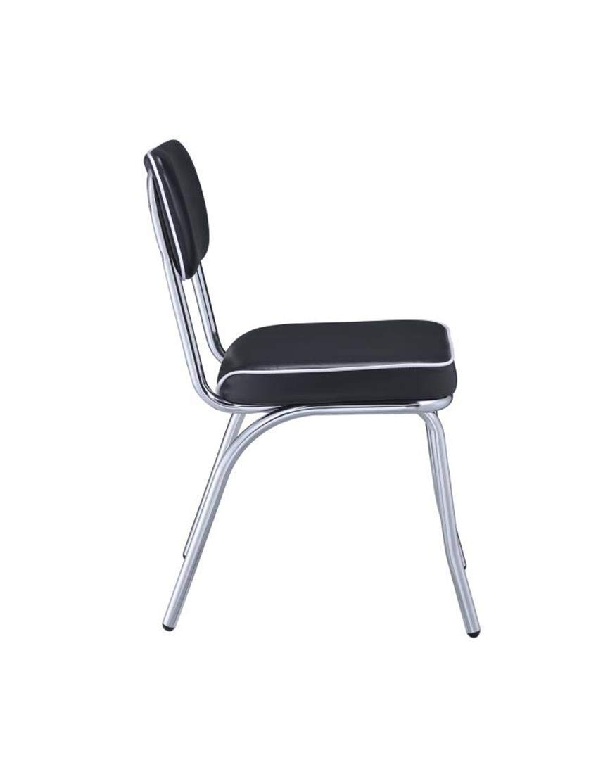 Retro Side Chairs with Cushion Black and Chrome Set of 2