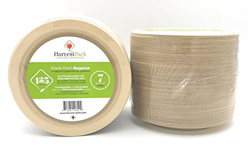[125 COUNT] 7'' in Round Disposable Plates - Natural Sugarcane Bagasse Bamboo Fibers Sturdy Seven Inch Compostable Eco Friendly Environmental Paper Plate Alternative 100% by-product Tree Plastic Free by Harvest Pack
