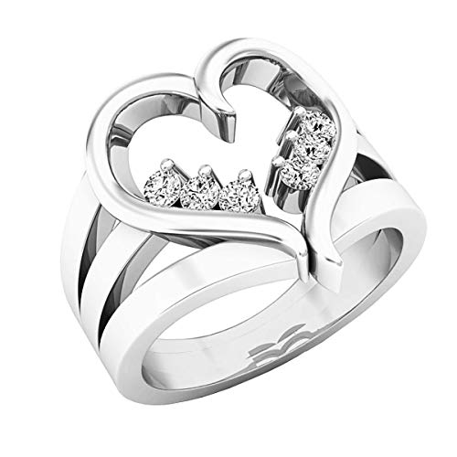 (Dazzlingrock Collection 0.18 Carat (ctw) 18K Round White Diamond Cocktail Heart Right Hand Ring, White Gold, Size)