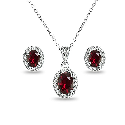 Sterling Silver Created Ruby and White Topaz Oval Halo Necklace and Stud Earrings Set