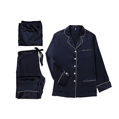 Lilysilk Conjunto De Pijamas De Seda Para Mujer 3 Piezas 100% Seda De Mora De 22 Momme Azul Marino