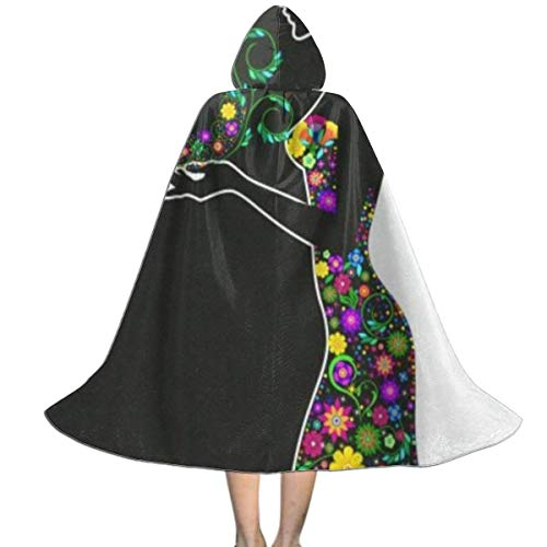 Happy Womens Day March 8 Floral Flowers Kids Costumes Capes Cloak with Hood for Halloween Party Ages 2 to ()