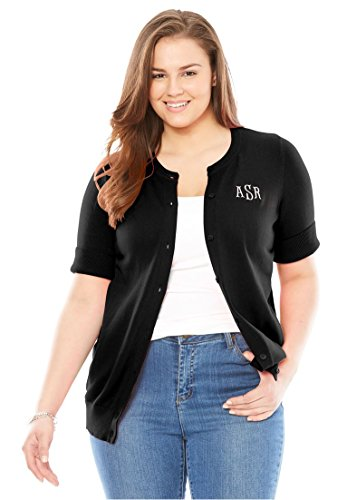 Ribbon Trim Sweater (Women's Plus Size Elbow-Sleeve Classic Cardigan Sweater With Monogram Black,3X)