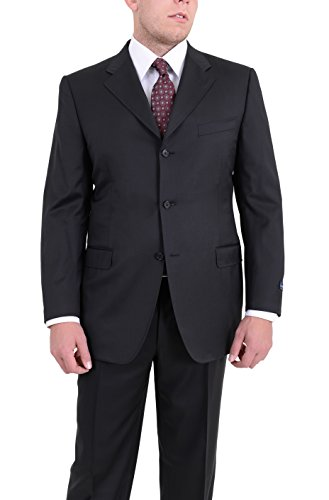 Canali Classic Fit 44r 56 Drop 8 Solid Black Three Button Super 120's Wool - Suit 120's 3 Wool Button