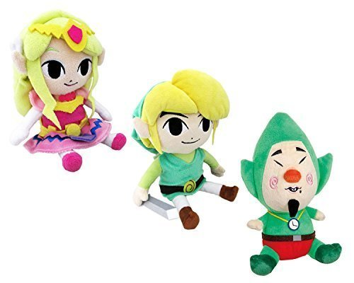 Legend of ZELDA Video Game Icon 7'' Plush Set Featuring Link, Tingle, and Legend of Zelda Wind Waker Princess