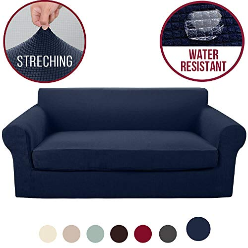 Vailge 2-Piece High Stretch Jacquard Sofa Slipcover, Water Resistant Sofa Cover with Separate Cushion Cover,Machine Washable Couch Covers/SlipCover for Dogs,3 Cushion Couch,Living Room(Sofa:Navy Blue) (Best Slipcovers For Dogs)