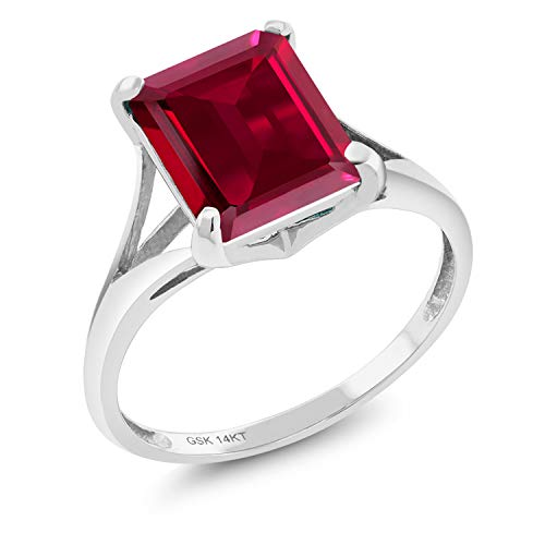 14K White Gold Red Created Ruby Women's Solitaire Ring 3.80 Ct Emerald Cut (Size ()