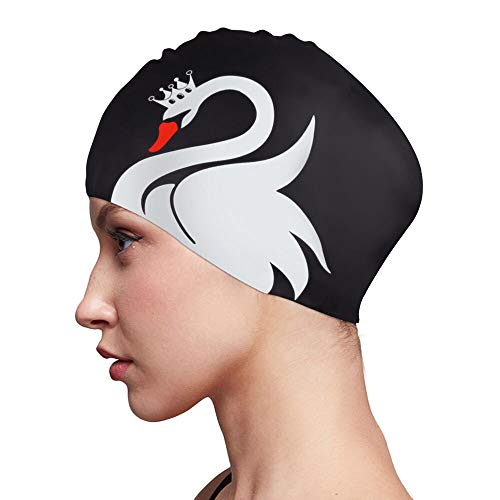 Swim Cap for Women Long Hair Curly Hair Solid Silicone Waterproof Bathing Swan Swimming Caps for Girls Adult Youth (Black) (Best Waterproof Swim Cap For Long Hair)