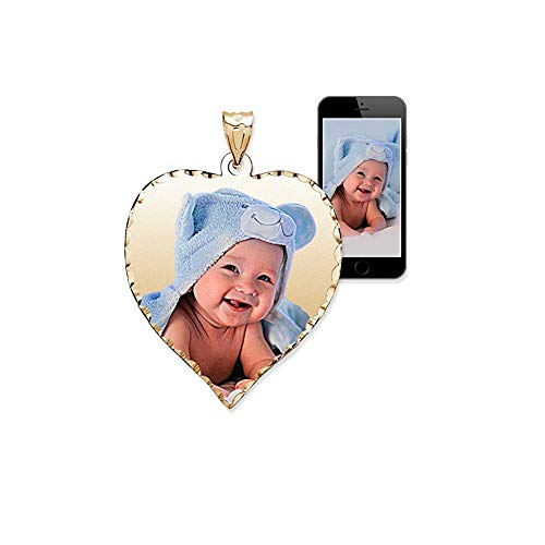 PicturesOnGold.com Personalized Photo Engraved Heart Shaped Custom Photo Pendant/Photo Necklace/Photo Charm with Diamond Cut Edge - 3/4 Inch x 3/4 Inch (Sterling Silver)