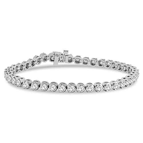 AGS Certified 5 Carat TW Three Prong Diamond Tennis Bracelet in 14K White Gold (J K Color, I2 I3 Clarity)