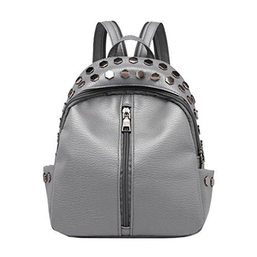 (YJYDADA Bags,Vintage Women's Rivets Leather Backpack Satchel Travel School Rucksack Bag (Gray))