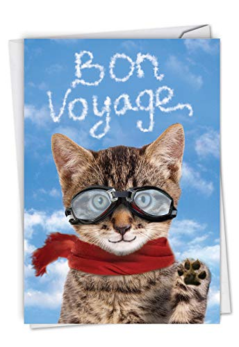 Goodbye Cat: Humorous Bon Voyage Greeting Card With a cat waving farewell, with Envelope. C6856BVG