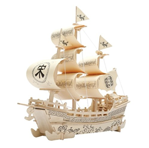 DIY 3D Wooden Educational Puzzle Toy Vehicle Boat Ship Model for Children by Exemplar