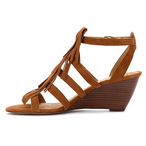 Sam Edelman Sandra Women Open Toe Leather Gold Wedge Sandal Saddle Kid Suede Leather