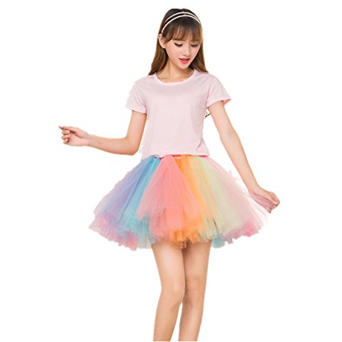 BIFINI Adult Women 80's Tutu Skirt Layered Tulle Petticoat Halloween Tutu Rainbow 2