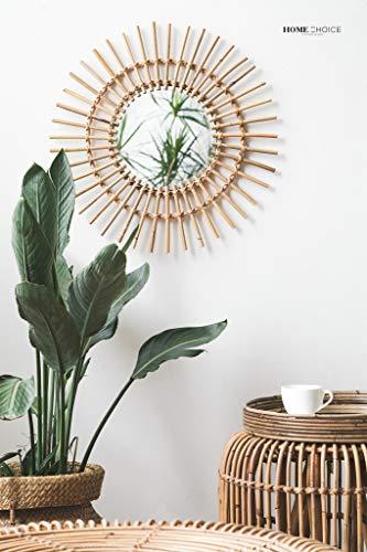 (RISEON Boho Mid-Century Vintage Moroccan Style Halo Wicker Mirror, Bamboo Rattan Sunburst Mirror, Hanging Wall Mirror, Round Room Entryway)
