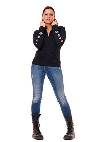 3elfen y cremallera con capucha Yin chaqueta negra Yang mujer para Sudadera RqqOx6fnS