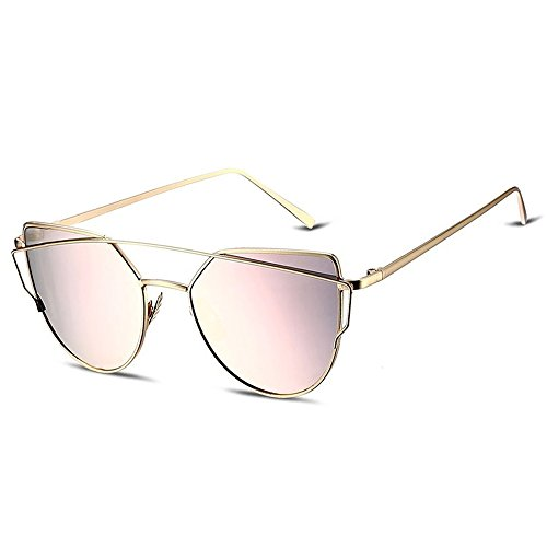Fashion sunglasses Cat Eye Mirrored Flat Lenses women Metal Sunglasses Goggles Beach glasses UV400 (Rose, - Glasses Beach