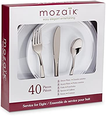 Amazon.com Mozaik Premium Plastic Silver Banded Service for 8 with Assorted Cutlery 40 pieces Health u0026 Personal Care  sc 1 st  Amazon.com & Amazon.com: Mozaik Premium Plastic Silver Banded Service for 8 with ...