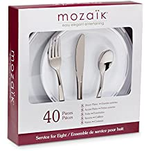 Mozaik Premium Plastic Silver Banded Service for 8 with Assorted Cutlery, 40 pieces