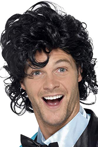 Smiffys Men's 80's Short Black Wig with Curls, One Size, 80's Prom King Perm Wig, 43690 ()
